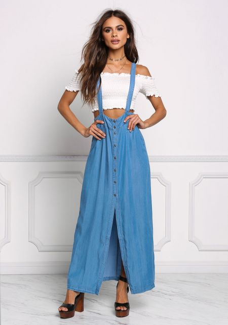 Denim Overalls Maxi Dress