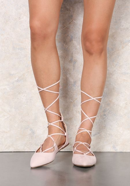 Nude Suedette Lace Up Ballerina Flats