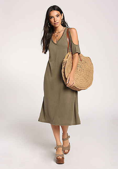 3afc8469279e Olive Cold Shoulder Shift Midi Dress ...