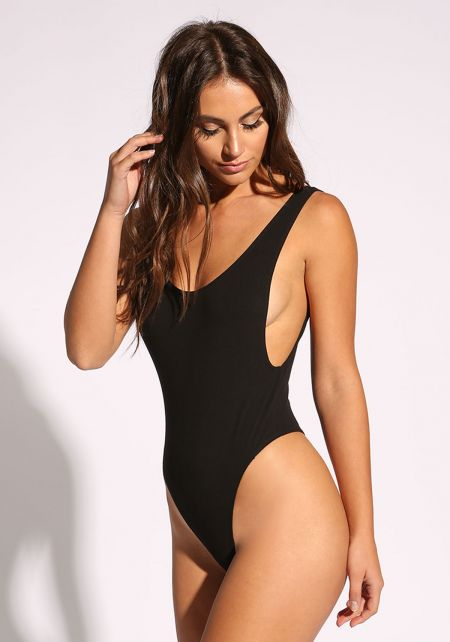 Black Low Scoop Bodysuit