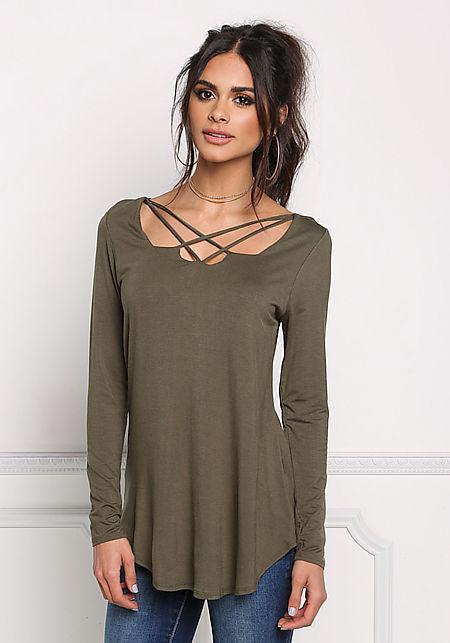 Olive Multi Strap Jersey Knit Top