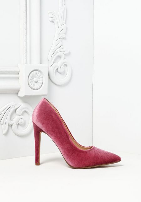 Mauve Velvet Pointed Toe Heels