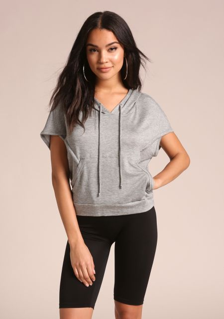 Heather Grey Active Hooded Tee