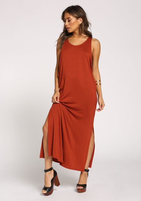 Rust Side Scoop Slit Maxi Dress