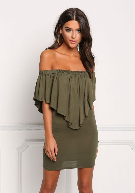 Olive Off Shoulder Pointed Layered Bodycon Dress