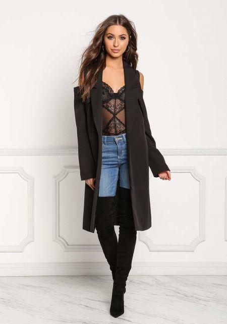 Black Cold Shoulder Longlined Blazer