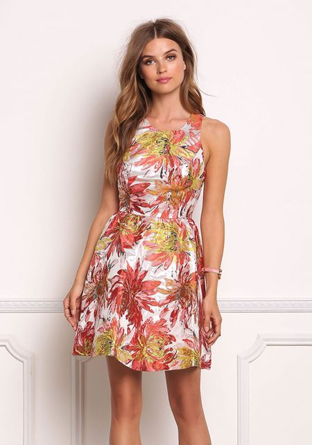 Multi Metallic Floral Thin Racerback Flared Dress