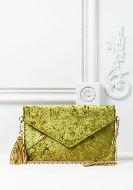 Green Crushed Velvet Envelope Clutch