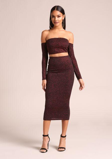 Black and Red Sparkled Midi Skirt