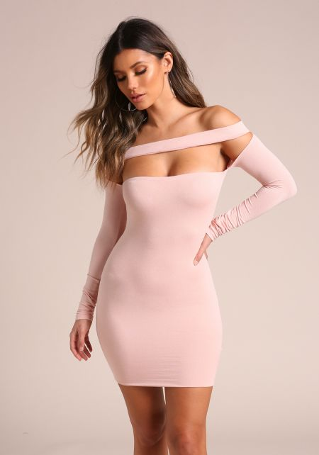 Blush Cross Strap Off Shoulder Bodycon Dress