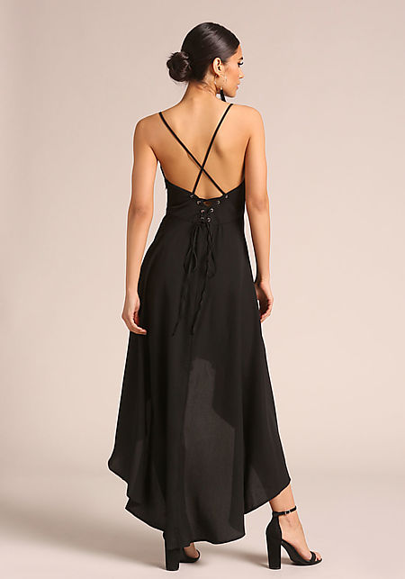 Black Hi-Lo Cross Strap Maxi Dress