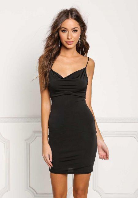 Black Draped Low Cut Back Bodycon Dress