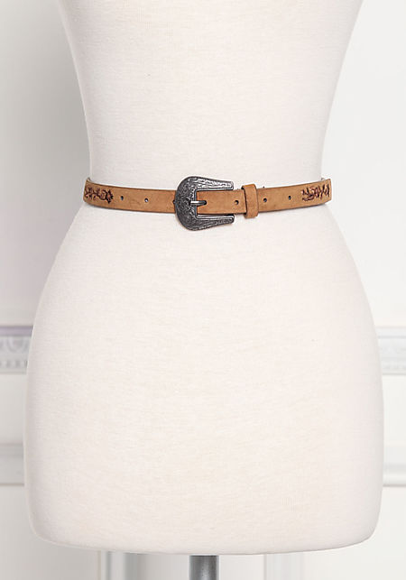 Brown Thin Suedette Engraved Belt