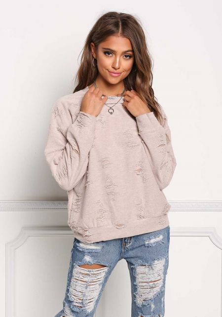 Taupe Distressed Pullover Top