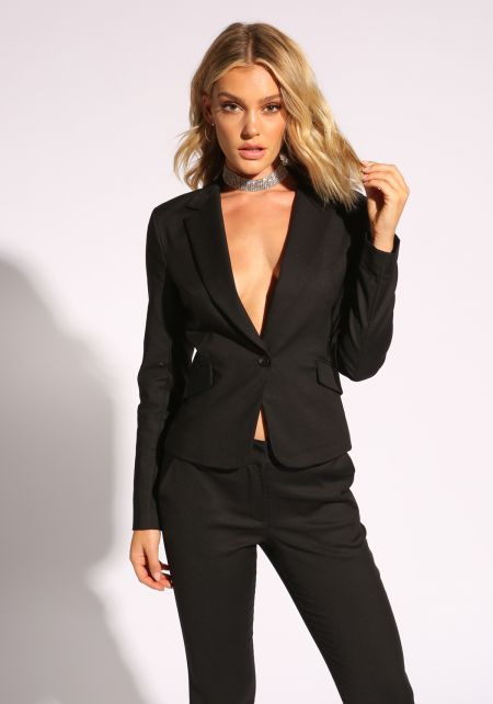 Black Plunge Single Breasted Blazer