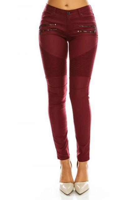 Burgundy Embossed Zipper Trim Skinny Pants