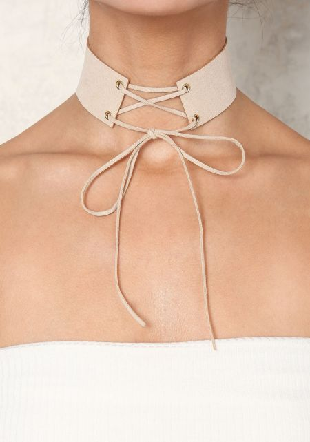 Nude Suedette Lace Up Choker
