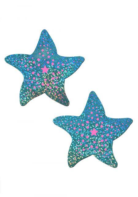 Aqua Glitter Starfish Nipple Covers