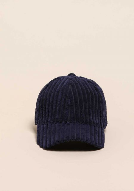 Navy Ribbed Faux Fur Dad Cap