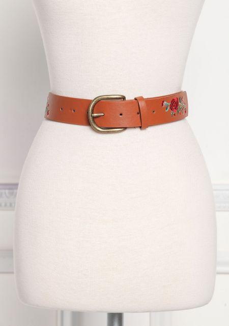 Brown Rose Embroidered Leatherette Belt