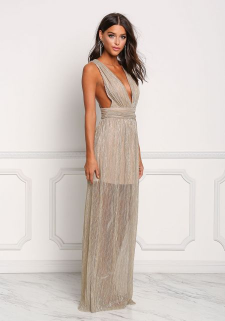 Gold Plunge Twisted Strap Metallic Maxi Dress