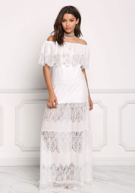 Ivory Layered Off Shoulder Maxi Dress