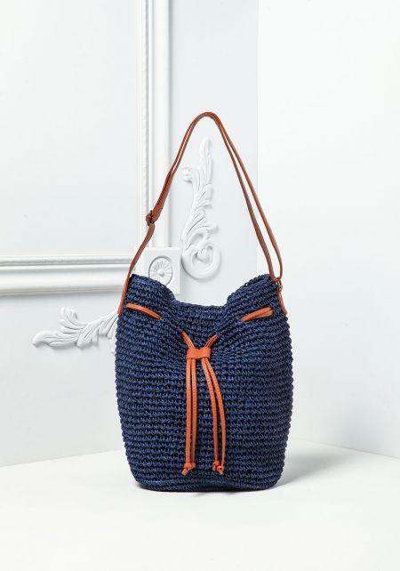 Royal Woven Drawstring Tote Bag