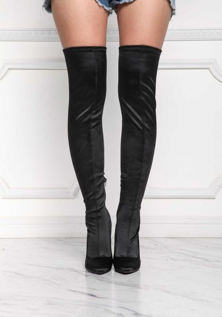 Black Lustrous Over The Knee Boots