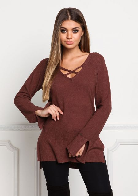Burgundy Cross Strap Ribbed Knit Sweater Top