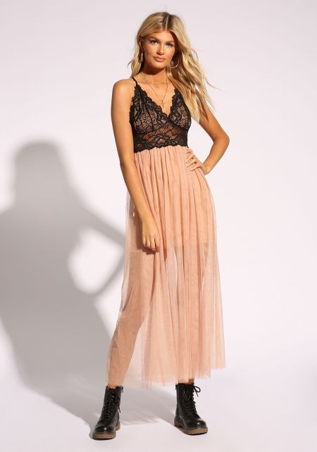 Nude Lace Tulle Cross Strap Maxi Dress