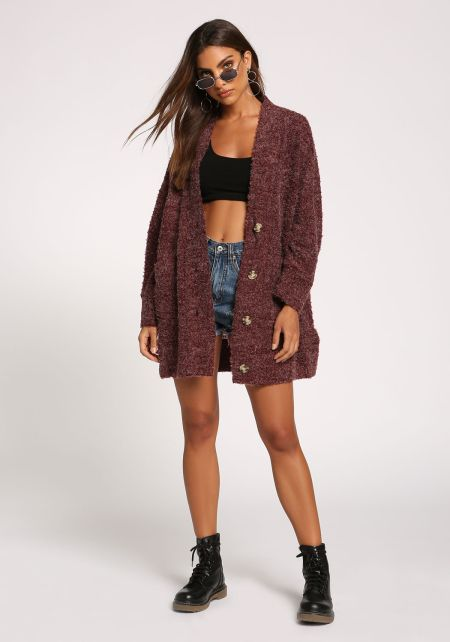 Burgundy Button Front Pocket Cardigan
