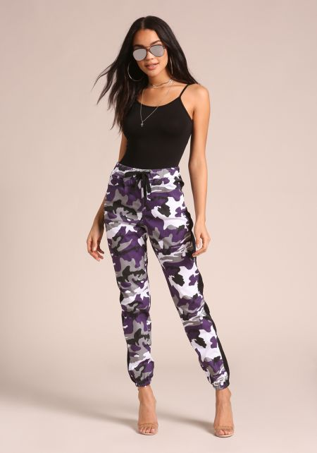 Purple Camo Drawstring Cargo Jogger Pants