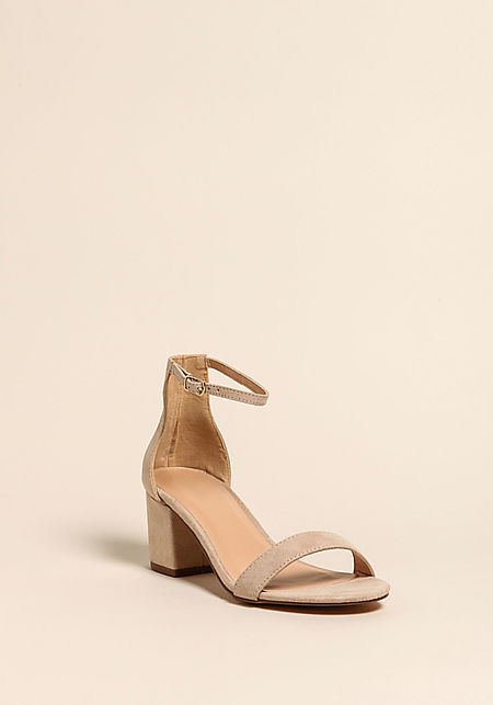 Natural Suedette Short Ankle Strap Heels