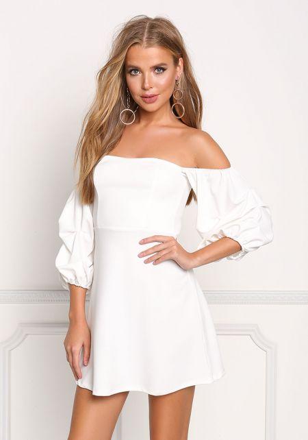 Ivory Off Shoulder Flared Dress