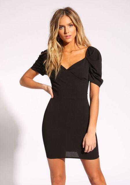 Black Puff Sleeve Bodycon Dress