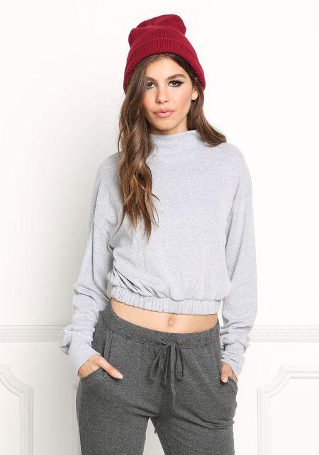 Heather Grey Elastic Pullover Sweater Top