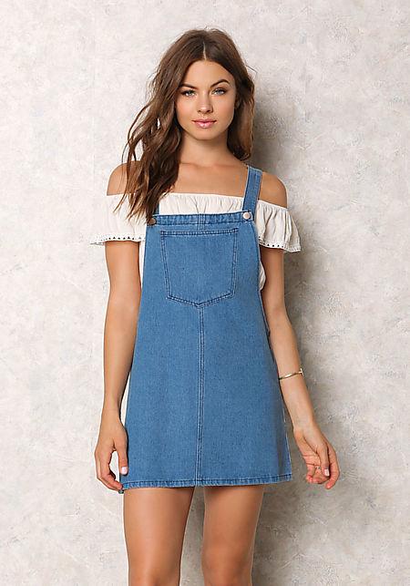 Denim Thin Racerback Overall Dress