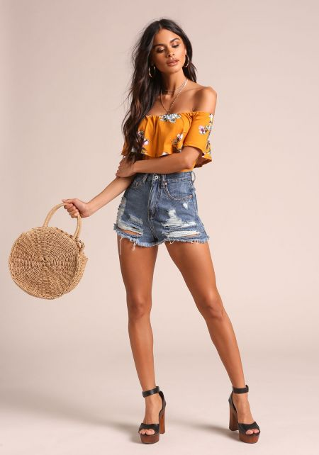 Mustard Layered Off Shoulder Floral Bodysuit