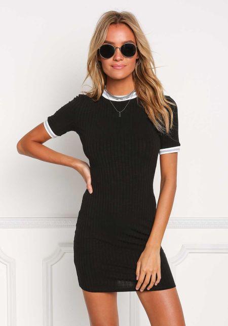 Black Outlined Ribbed Knit Dress