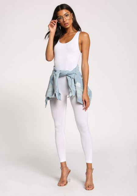 White Scoop Leotard Jumpsuit