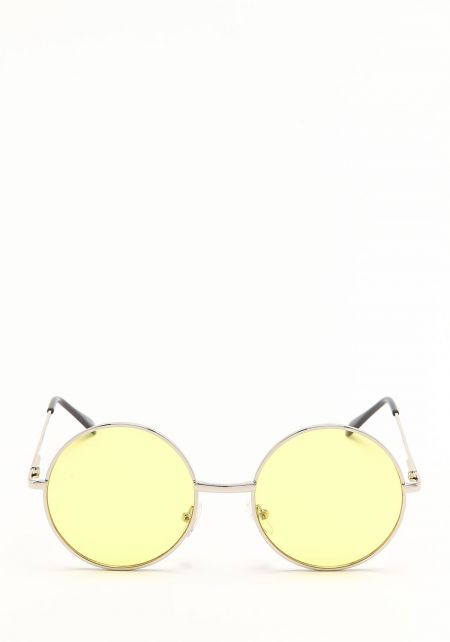 Yellow Retro Colored Lens Round Sunglasses