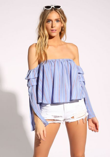 Blue Gathered Bell Sleeve Pinstripe Blouse