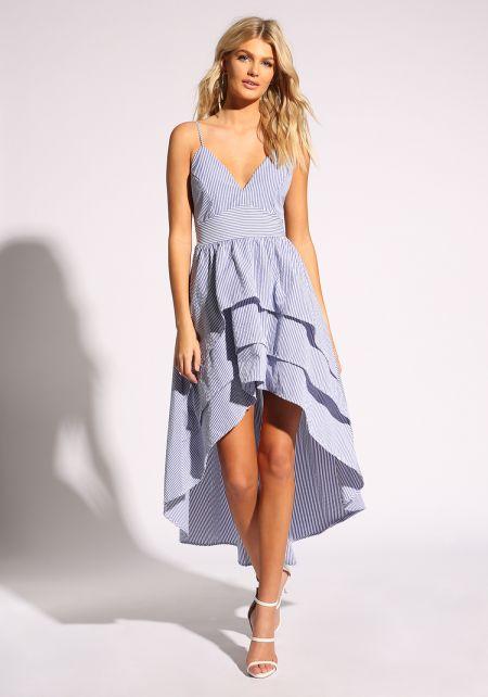 Blue Stripe Tiered & Flared Hi-Lo Maxi Dress