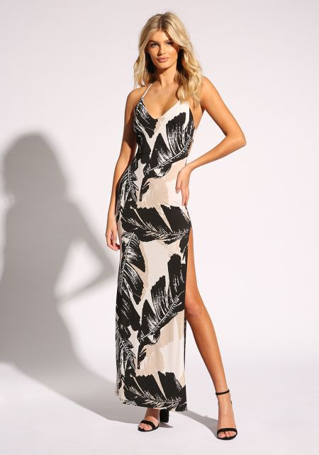 White and Black Feather Halter Maxi Dress