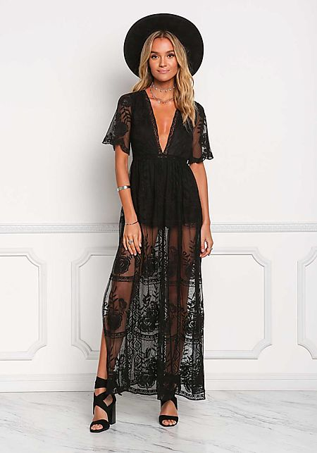 Black Lace Plunge Slit Maxi Dress