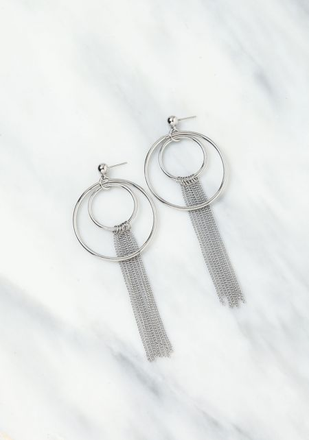 Silver Layered Chain and Circle Hoop Earrings