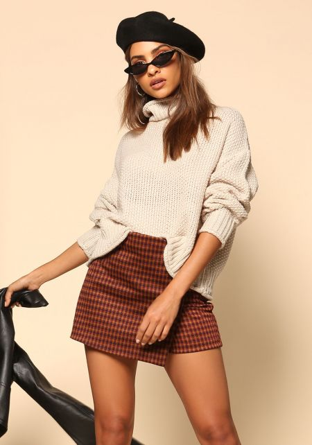 Oatmeal Turtleneck Sweater Top