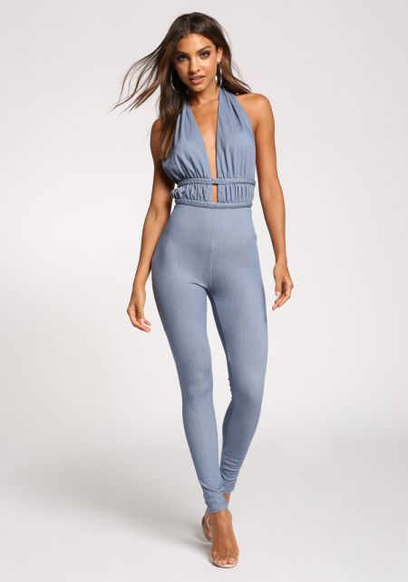 Denim Plunge Halter Open Back Jumpsuit