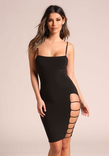 Black Side Caged Cut Out Bodycon Dress