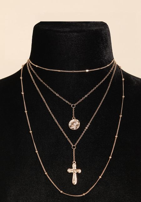 Gold Thin Chain Layered Cross Pendant Necklace